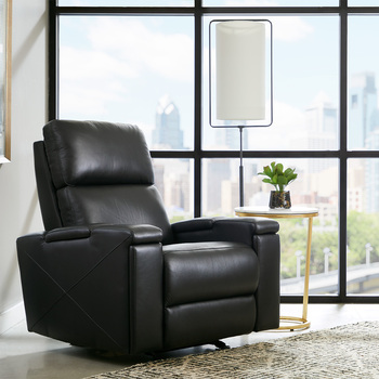 Pulaski,  Reclinable De Piel, Color Negro