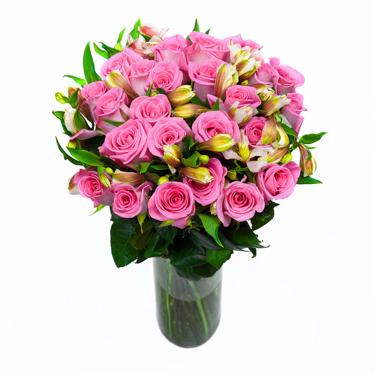 bouquet 24 rosas con 10 alstromelias color rosa costco mexico