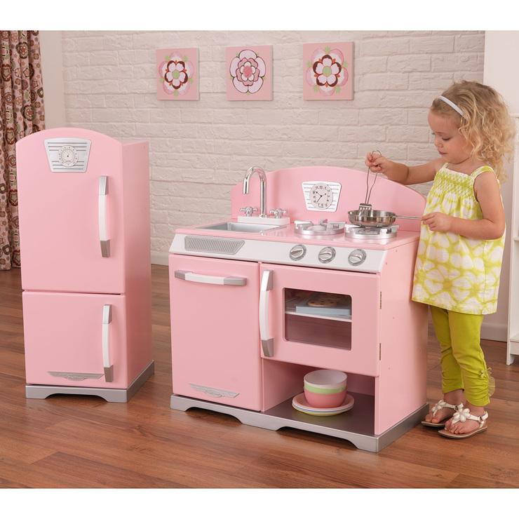 Kidkraft estufa y refrigerador estilo retro en color rosa - Casitas de juguete para ninas ...