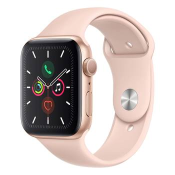 Apple Watch Series 5 + Celular Caja de Aluminio 44mm de Color Oro con Correa de Color Rosa Arena