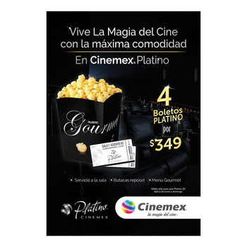 Cinemex Platino con 4 boletos