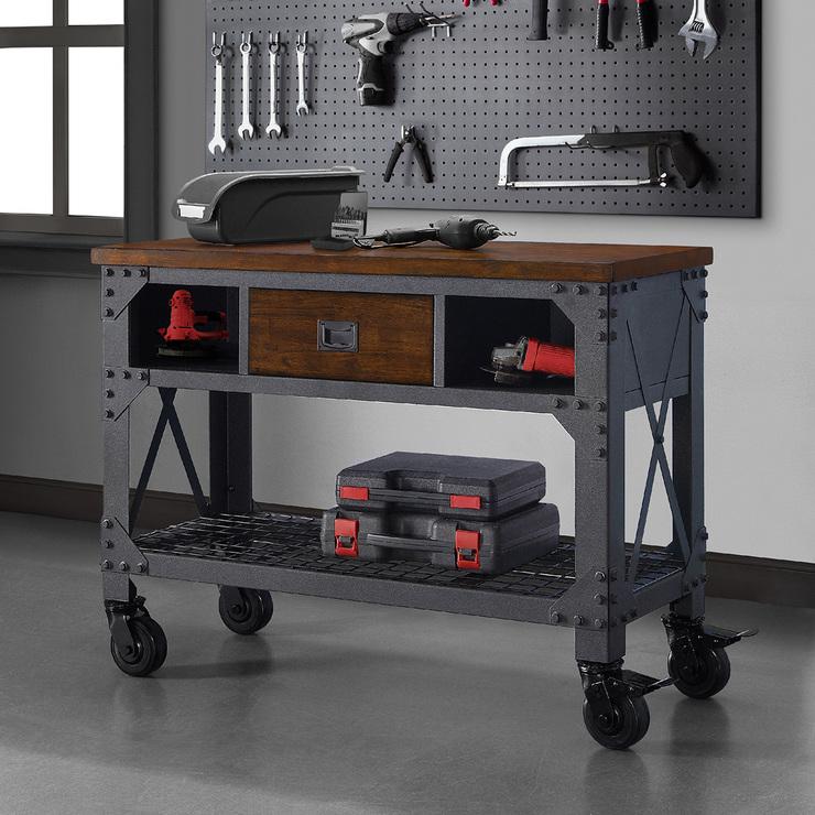 Whalen mesa de trabajo de metal industrial y madera 121 9 for Mesa industrial de madera y metal