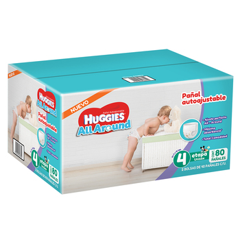 Huggies All Around, pañales autoajustables etapa 4 (80 piezas)