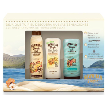 Hawaiian Tropic Aloha Therapy, kit de protección solar FPS 50+ UVA/UVB (2 lociones + 1 spray)