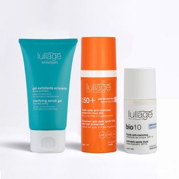 Lullage, kit  facial anti-manchas (gel exfoliante + protector solar + fluido bio10)