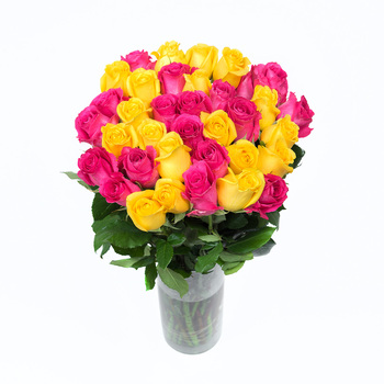 Bouquet de 36 Rosas Color Fucsia y Amarillo
