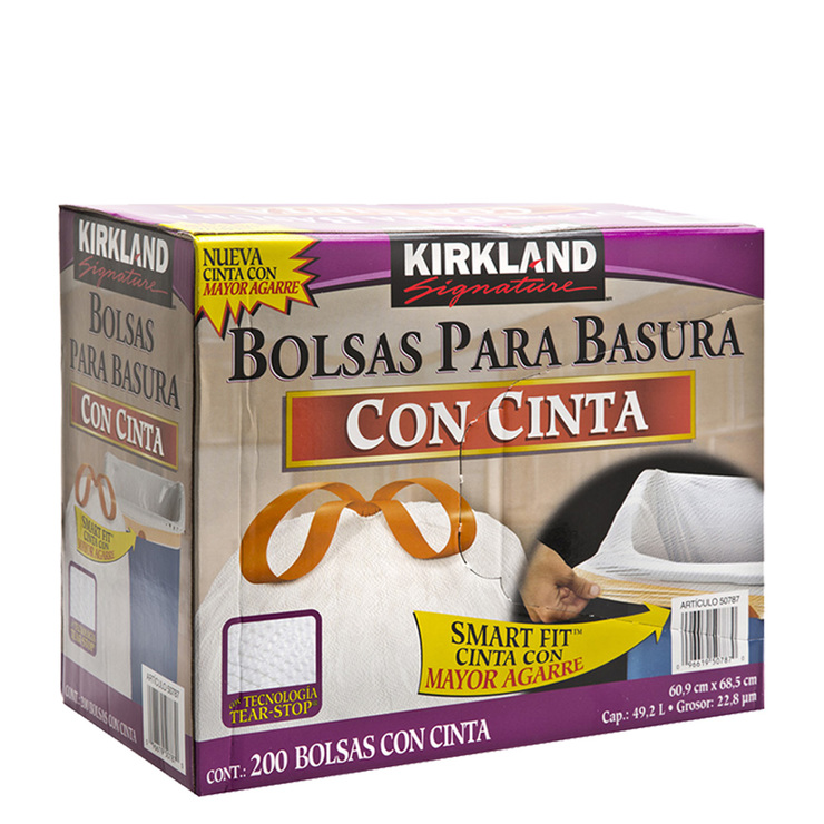 87ba12661 Kirkland Signature bolsas para basura de plástico con cinta 200 piezas
