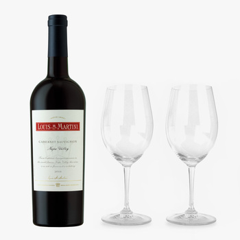 Vino Tinto Louis M Martini Napa Valley 750ml + 2 copas Riedel